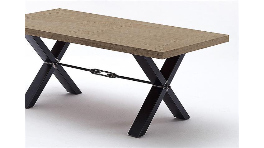 Esstisch GAVI Tisch Akazie massiv sandstrahl lavagrau 200