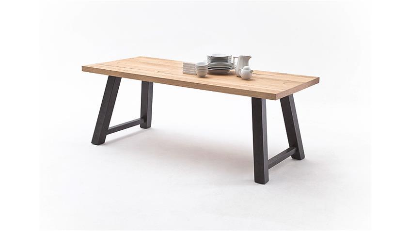 Esstisch 1 ALVARO Tisch Crack Eiche natur massiv schwarz 260