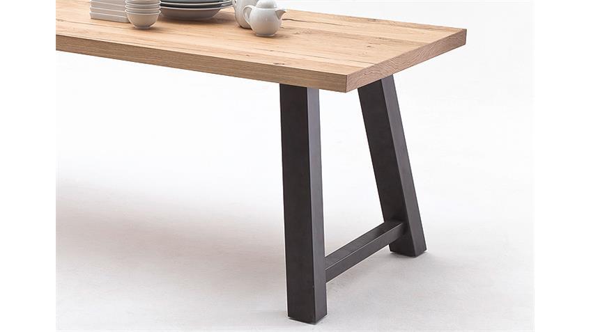 Esstisch 1 ALVARO Tisch Crack Eiche natur massiv schwarz 200