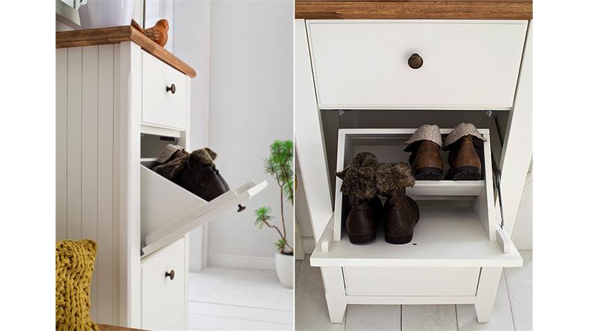 Garderobenset 1 MALIN Garderobe in Akazie teilmassiv weiß