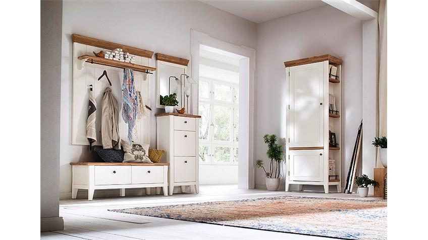 Garderobenset 2 MALIN Garderobe in Akazie teilmassiv weiß