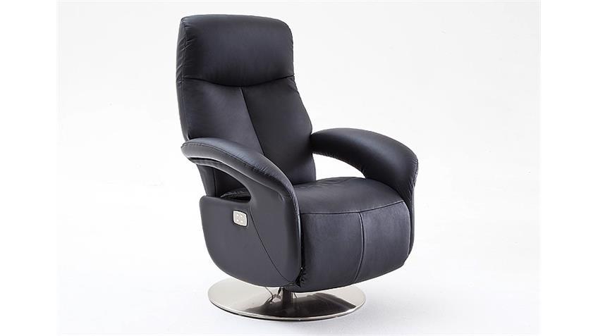 Relaxsessel ROMAN Echtleder schwarz inkl. Motor 130 kg