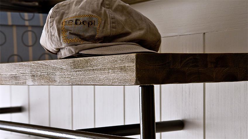 Wandpaneel GOMERA Garderobe in Akazie weiß teilmassiv