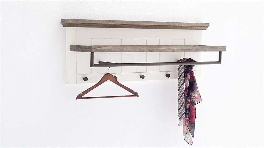 Garderobenleiste GOMERA Garderobe in Akazie weiß teilmassiv