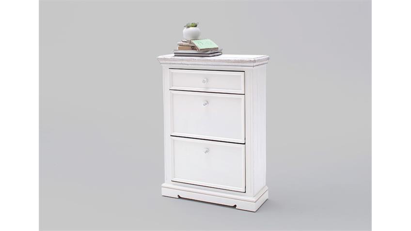 Schuhschrank 1 OPUS Garderobe in Kiefer massiv weiß Vintage
