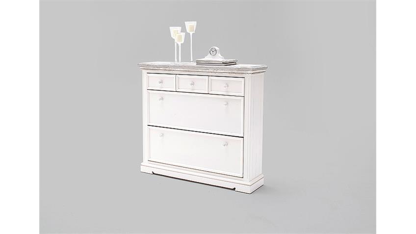 schuhschrank 2 opus garderobe in kiefer massiv wei vintage. Black Bedroom Furniture Sets. Home Design Ideas