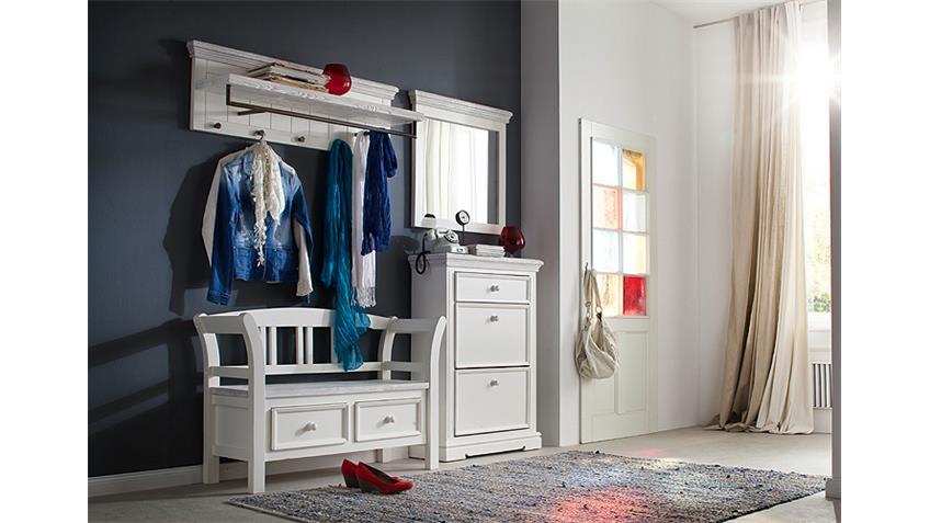 Garderobenset 2 OPUS Garderobe Kiefer massiv weiß Vintage