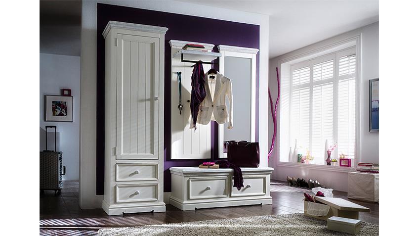 Garderobenset 3 OPUS Garderobe Kiefer massiv weiß Vintage