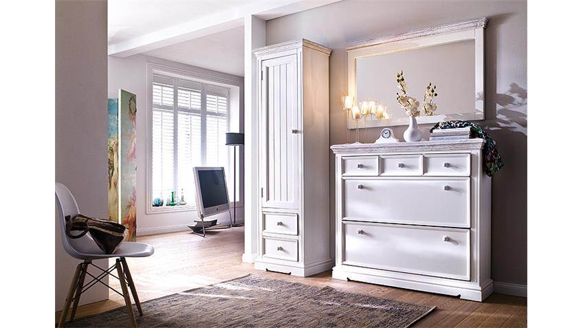 garderobenset 5 opus garderobe kiefer massiv wei vintage. Black Bedroom Furniture Sets. Home Design Ideas