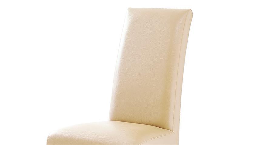 Stuhl FOXI 2er Set in Lederlook Beige und Eiche geölt