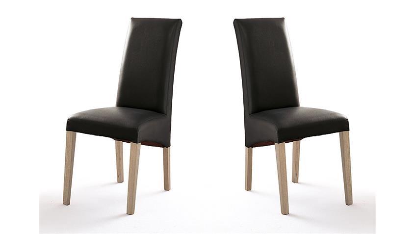stuhl foxi 2er set in lederlook schwarz und eiche sonoma. Black Bedroom Furniture Sets. Home Design Ideas