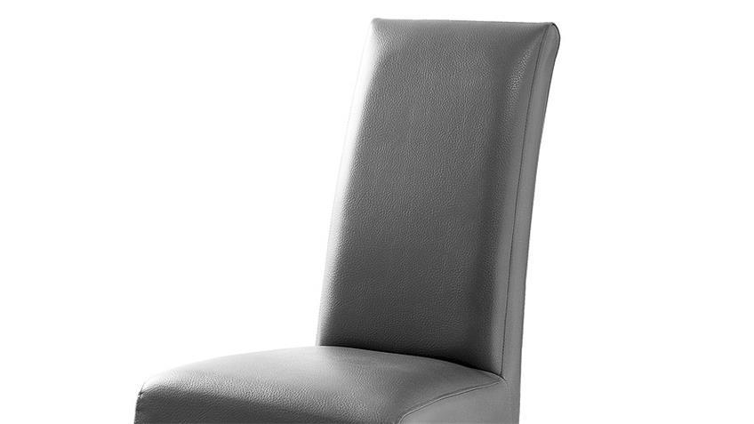 Stuhl FOXI 2er Set in Lederlook Grau und Eiche geölt