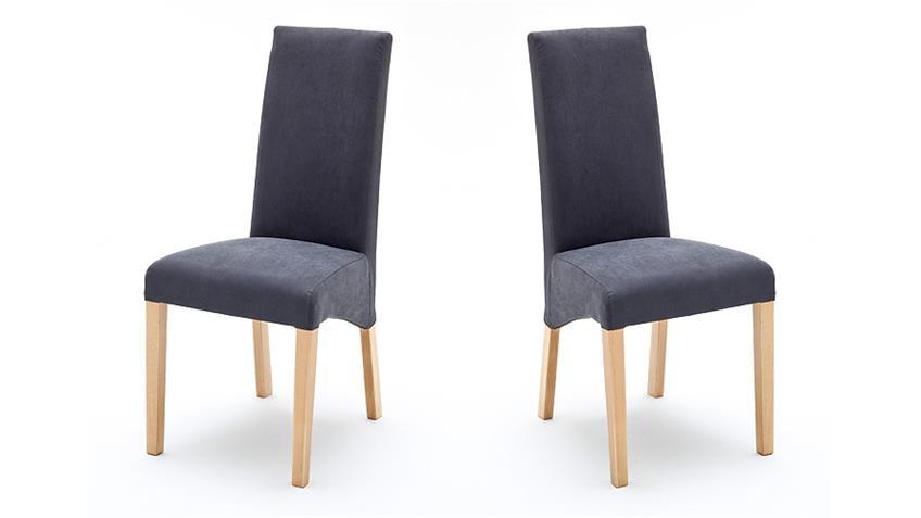 Stuhl FOXI 2er Set in Webstoff Grau und Buche natur