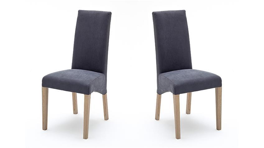 Stuhl FOXI 2er Set in Webstoff Grau und Eiche Sonoma