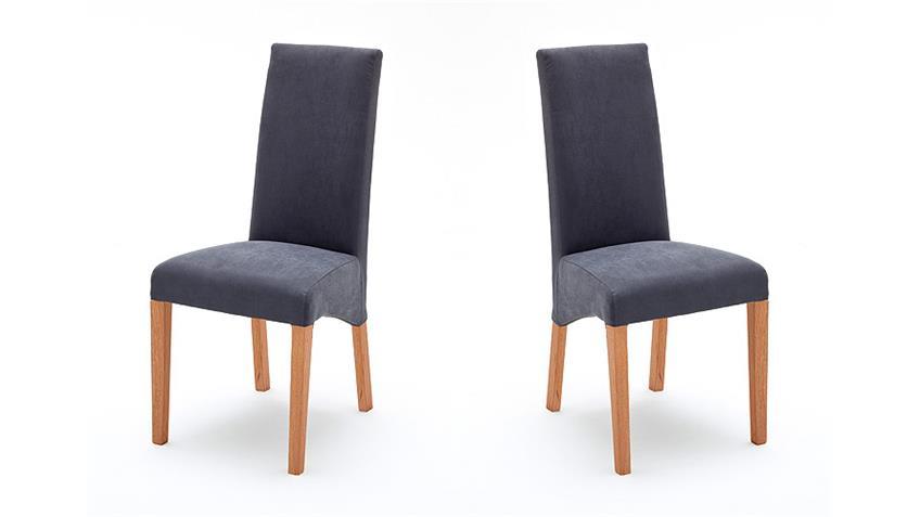 Stuhl FOXI 2er Set in Webstoff Grau und Eiche geölt