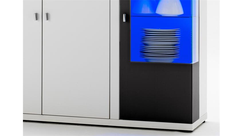 Sideboard 2 KONA hochglanz weiß Glas mit schwarzen Absetzungen