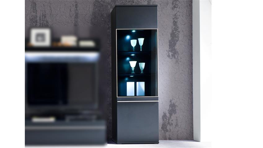 Vitrine BLACK schwarz matt lackiert Glas mit Edelstahlrahmen