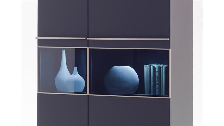 Kombivitrine BLACK schwarz matt lackiert Glas mit Edelstahlrahmen