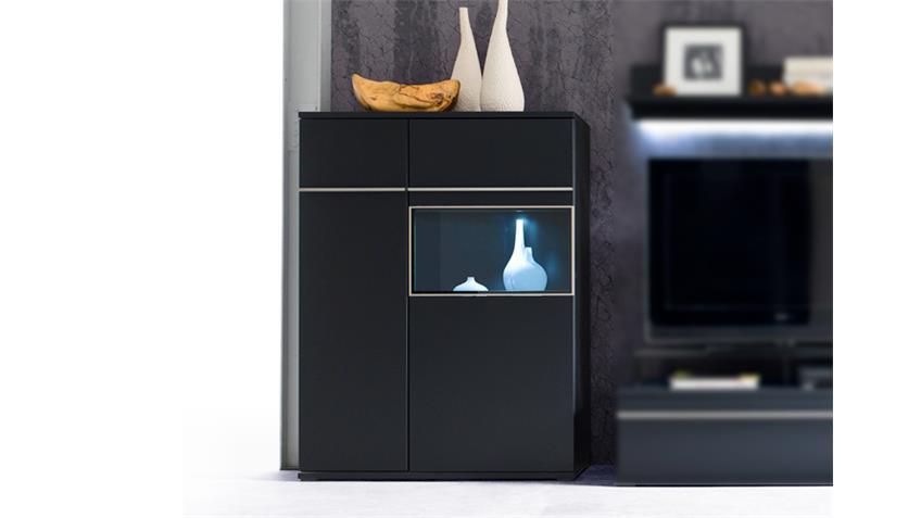Highboard links BLACK schwarz matt lackiert Glas mit Edelstahlrahmen