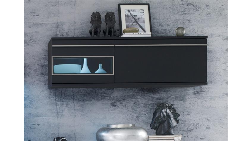 Hängeschrank BLACK schwarz matt lackiert Glas Edelstahlrahmen