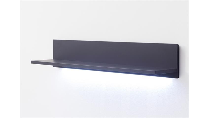 Wandboard BLACK schwarz matt 120 cm  mit Ablage