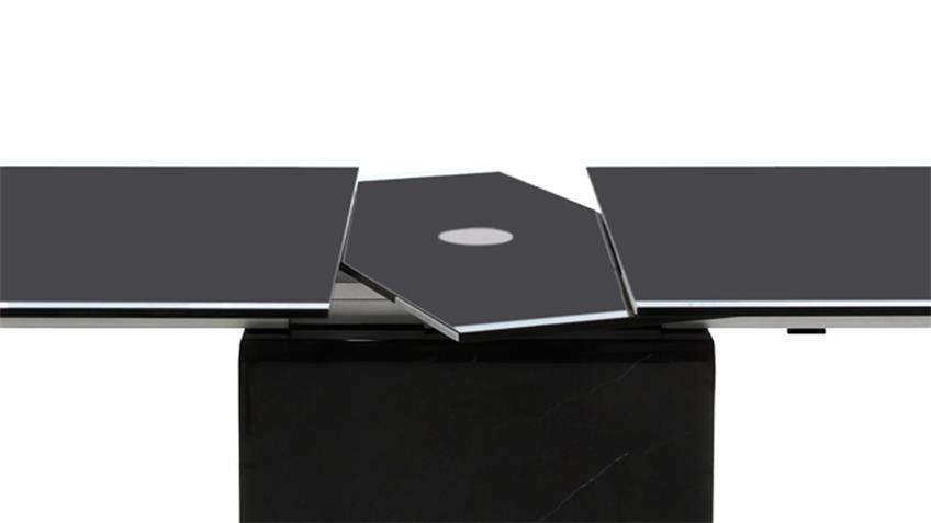 Ausziehtisch Sinja 200-245 cm Glasplatte 12 mm Gestell Marmor