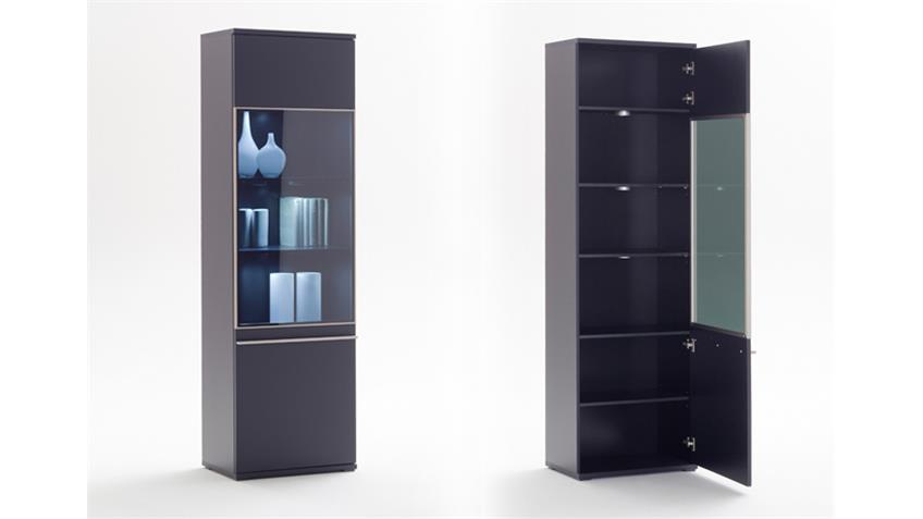 Wohnwand BLACK 1 schwarz matt lackiert Glas Edelstahlrahmen