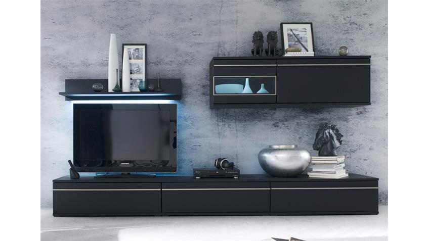 Wohnwand BLACK 2 schwarz matt lackiert Glas Edelstahlrahmen