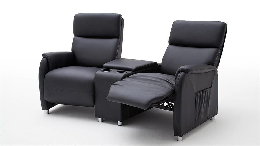 Kino 2er Sessel DANI Sofa Lederlook schwarz Getränkehalter