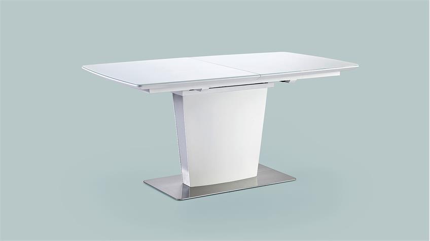 Esstisch HANJO Tisch in weiß matt Lack mit Synchronauszug