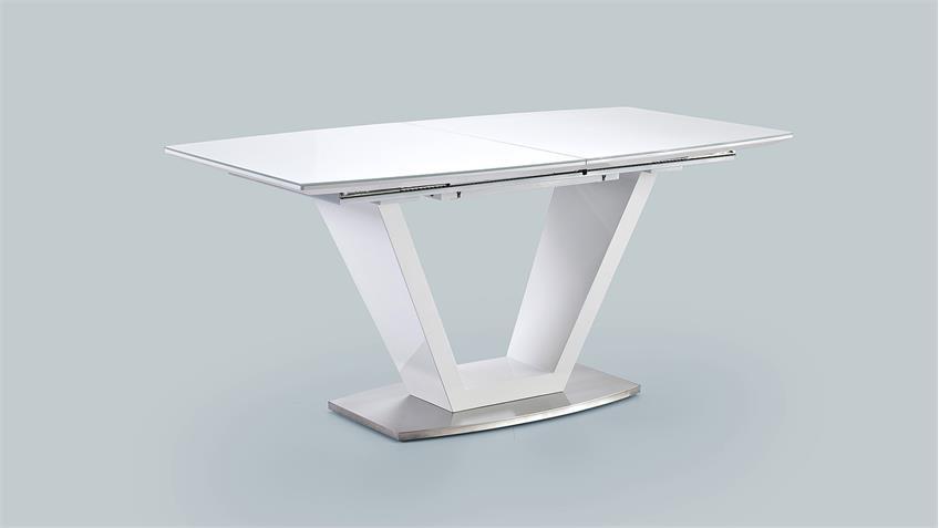 Esstisch ILKO Tisch weiß Hochglanz Lack mit Synchronauszug