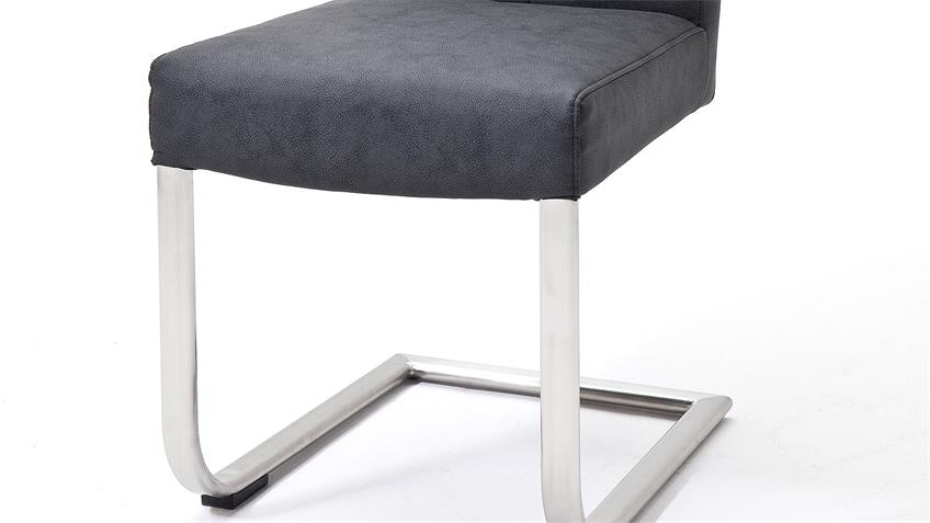 Schwingstuhl 2er Set VERONA Stuhl in anthrazit und Edelstahl