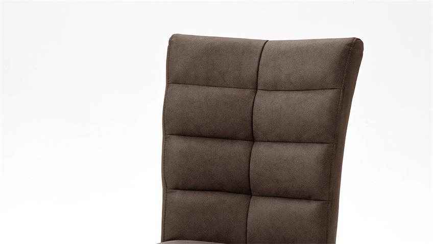 Schwingstuhl 2er Set VERONA Stuhl in braun und Edelstahl