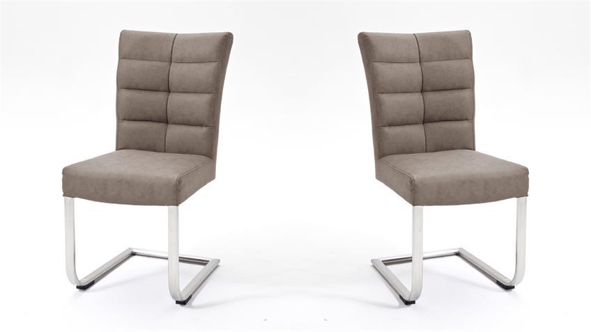 Schwingstuhl 2er Set VERONA Stuhl in taupe und Edelstahl