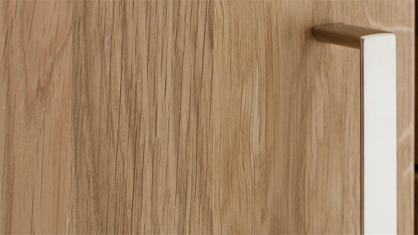 Vitrine PRATO Highboard in Eiche Bianco teilmassiv geölt