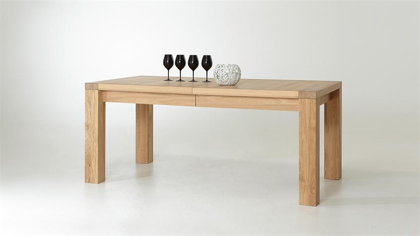 Esstisch PRATO Tisch Eiche Bianco teilmassiv geölt 180-280