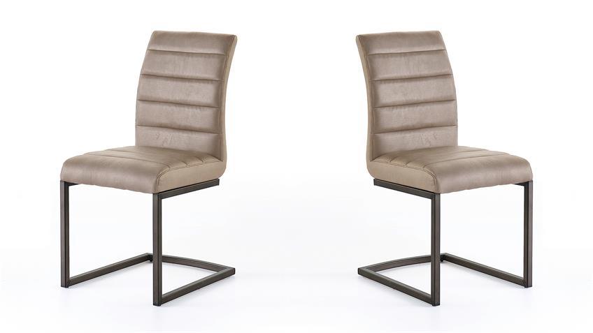 Schwingstuhl 2er Set PRATO Stuhl in sand Vintage schwarz