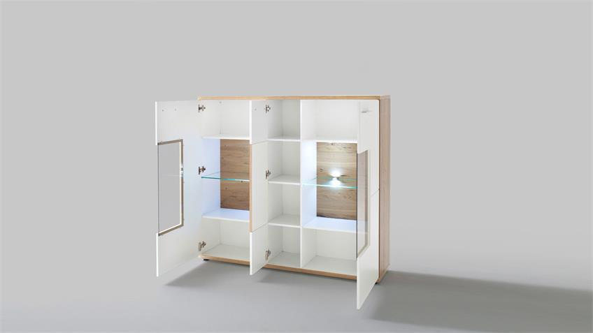 Highboard NIZZA Vitrine weiß matt Lack Crackeiche furniert