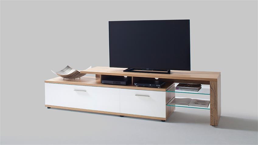 TV-Board 2 NIZZA Lowboard weiß matt Lack Crackeiche furniert