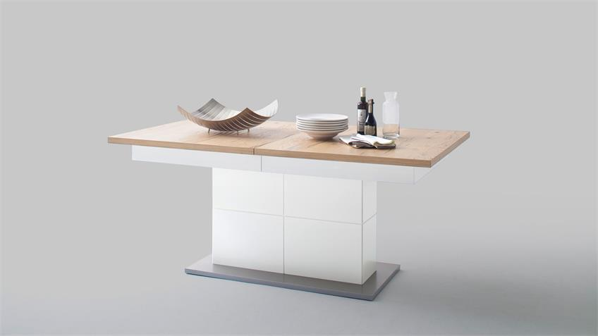 Esstisch NIZZA Tisch in weiß matt Lack Crackeiche furniert