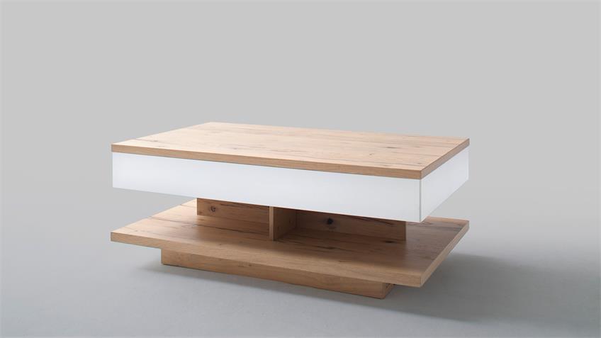 Couchtisch NIZZA Tisch in weiß matt Lack Crackeiche furniert
