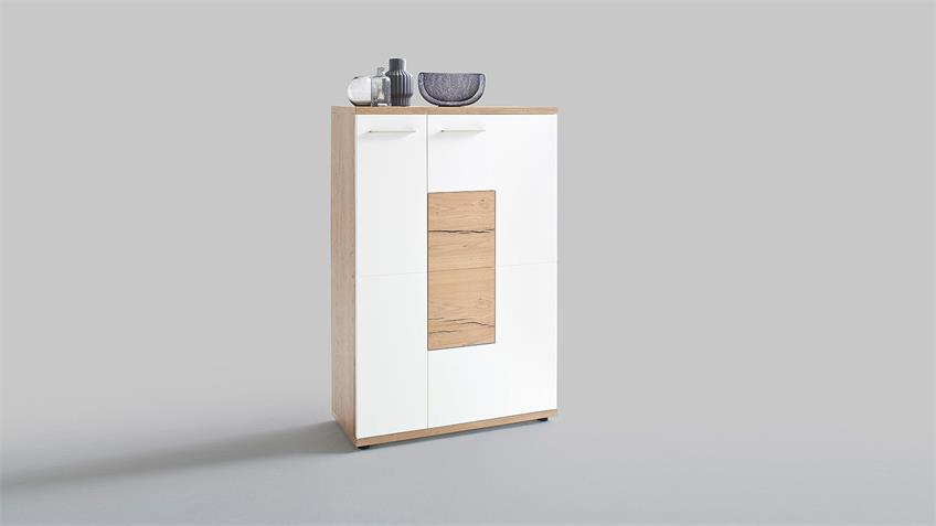 Highboard R NIZZA Vitrine weiß matt Lack Crackeiche furniert
