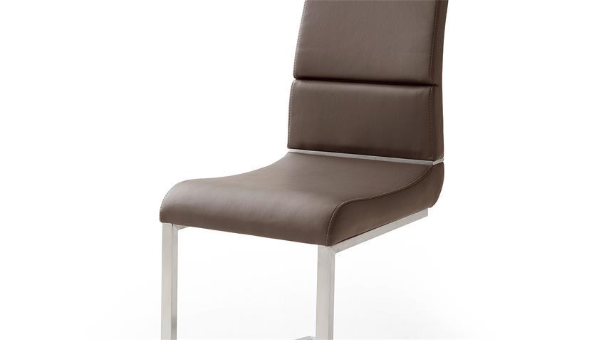 Schwingstuhl 2er Set NIZZA Freischwinger Stuhl in braun