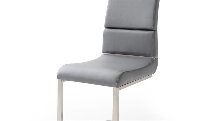 Schwingstuhl 2er Set NIZZA Freischwinger Stuhl in grau