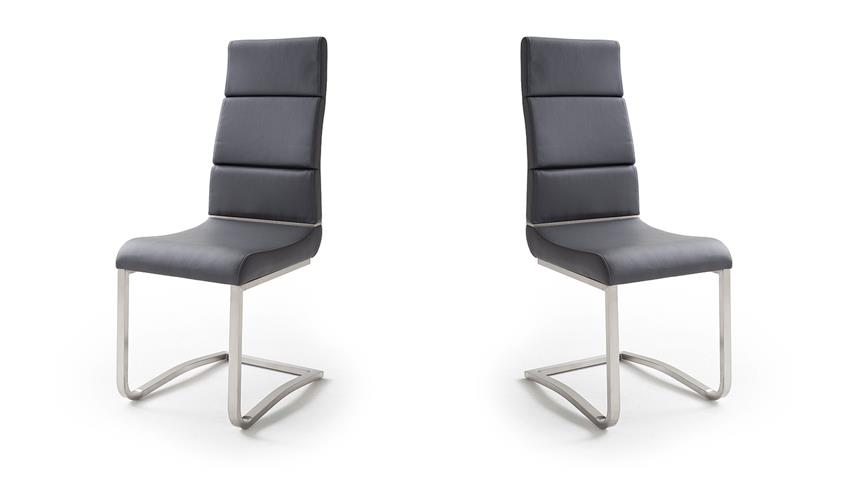 Schwingstuhl 2er Set NIZZA Freischwinger Stuhl in schwarz