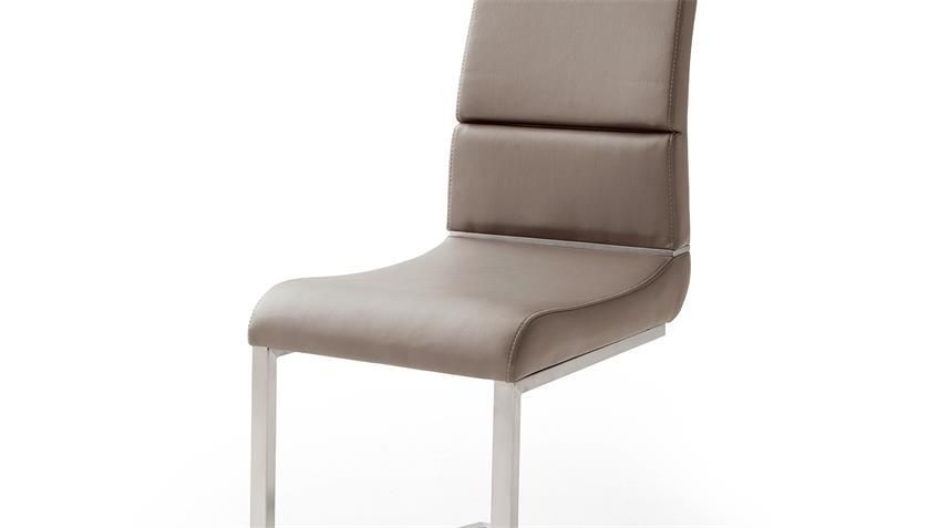 Schwingstuhl 2er Set NIZZA Freischwinger Stuhl in taupe