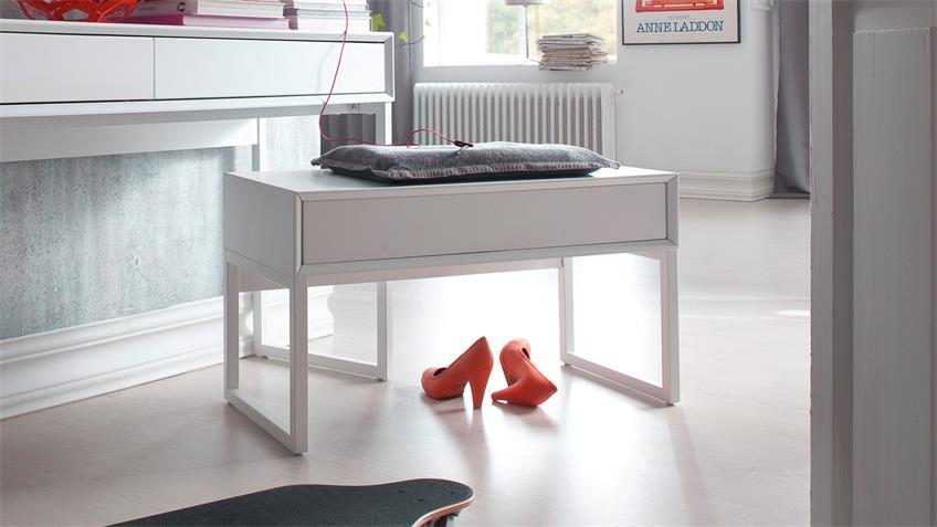 Hocker JOLLY Sitzhocker Konsole in weiß matt lackiert