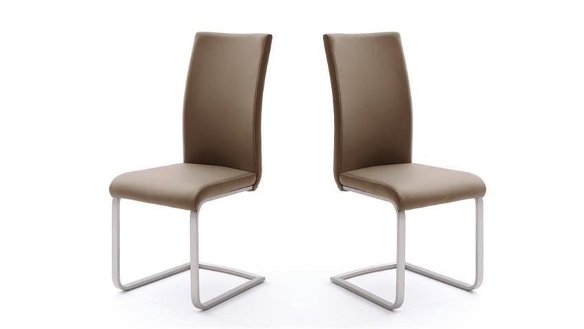 Stuhl 4er-Set PAULO 1 Esszimmerstuhl cappuccino und Edelstahl