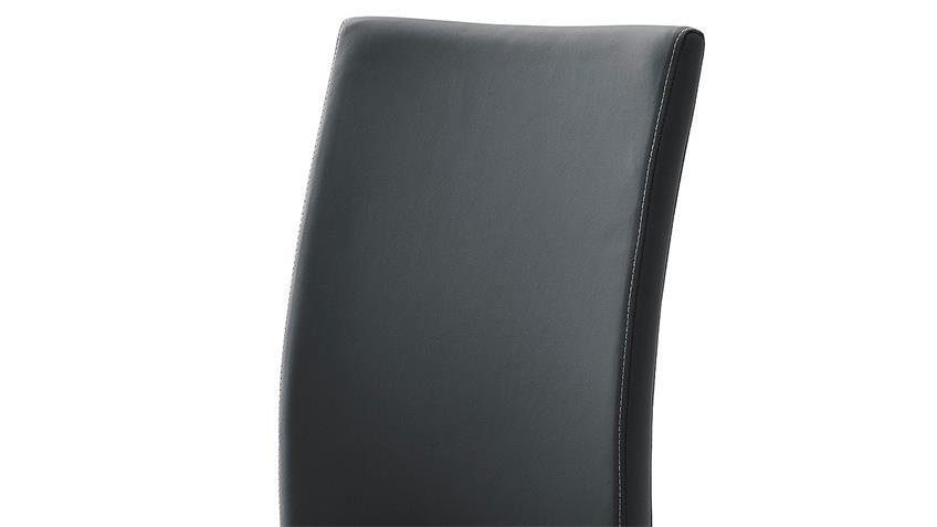 Stuhl 4er-Set PAULO 1 Esszimmerstuhl schwarz und Edelstahl