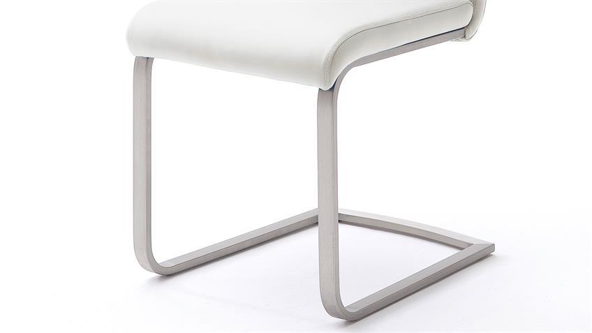 Stuhl 4er-Set PAULO 1 Esszimmerstuhl weiß und Edelstahl